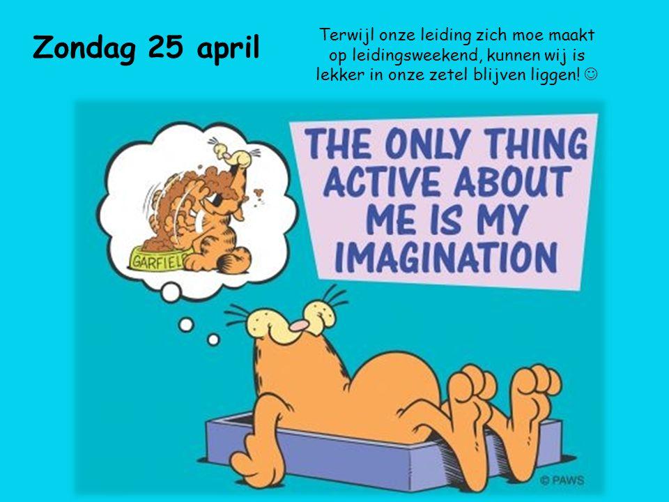 Zondag 25 april Terwijl onze leiding zich moe maakt op leidingsweekend, kunnen wij is lekker in onze zetel blijven liggen.