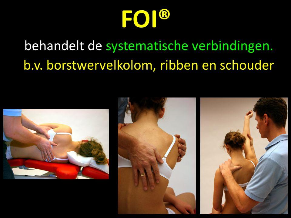 FOI® behandelt de systematische verbindingen. b.v. borstwervelkolom, ribben en schouder