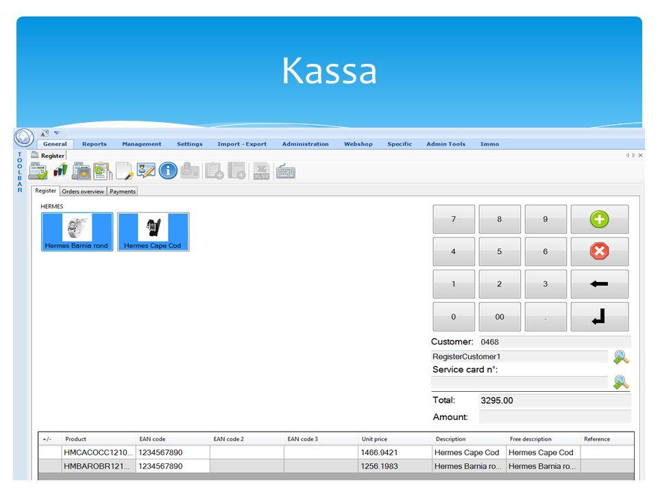  De gebruikersinterface van het kassasysteem is zo opgebouwd dat u op een snelle manier alle kassaverrichtingen kunt uitvoeren, al of niet via een touchscreen.