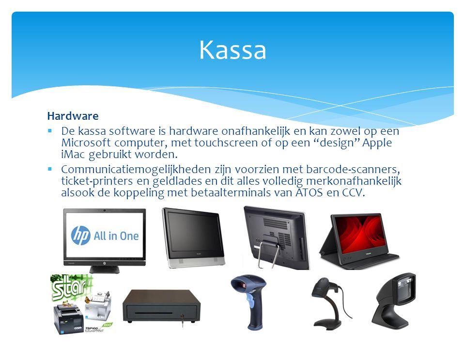 """Hardware  De kassa software is hardware onafhankelijk en kan zowel op een Microsoft computer, met touchscreen of op een """"design"""" Apple iMac gebruikt"""