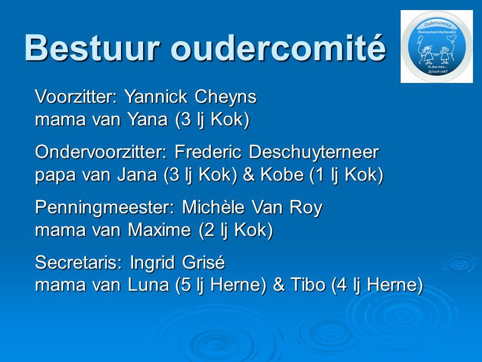 Bestuur oudercomité Voorzitter: Yannick Cheyns mama van Yana (3 lj Kok) Ondervoorzitter: Frederic Deschuyterneer papa van Jana (3 lj Kok) & Kobe (1 lj