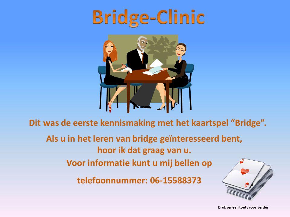 """Voor informatie kunt u mij bellen op telefoonnummer: 06-15588373 Dit was de eerste kennismaking met het kaartspel """"Bridge"""". Druk op een toets voor ver"""