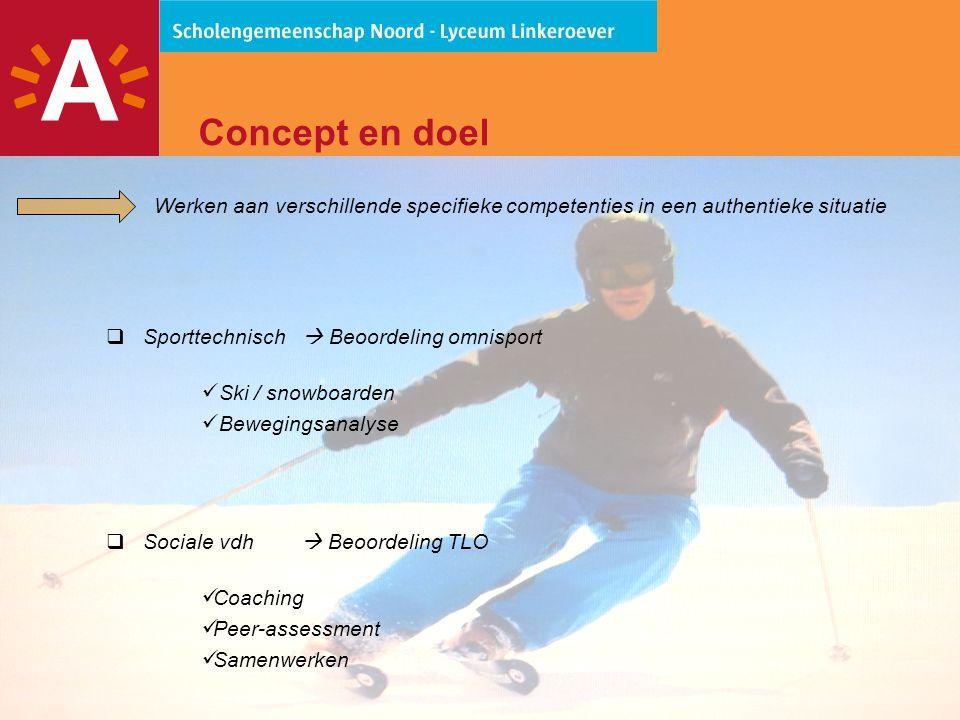 4 Concept en doel Werken aan verschillende specifieke competenties in een authentieke situatie  Sporttechnisch  Beoordeling omnisport  Ski / snowboarden  Bewegingsanalyse  Sociale vdh  Beoordeling TLO  Coaching  Peer-assessment  Samenwerken