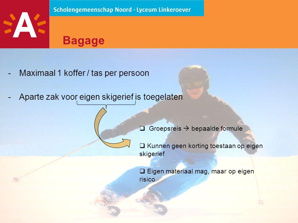 10 Bagage -Besteed voldoende aandacht aan een zorgvuldig geselecteerde ski- outfit.