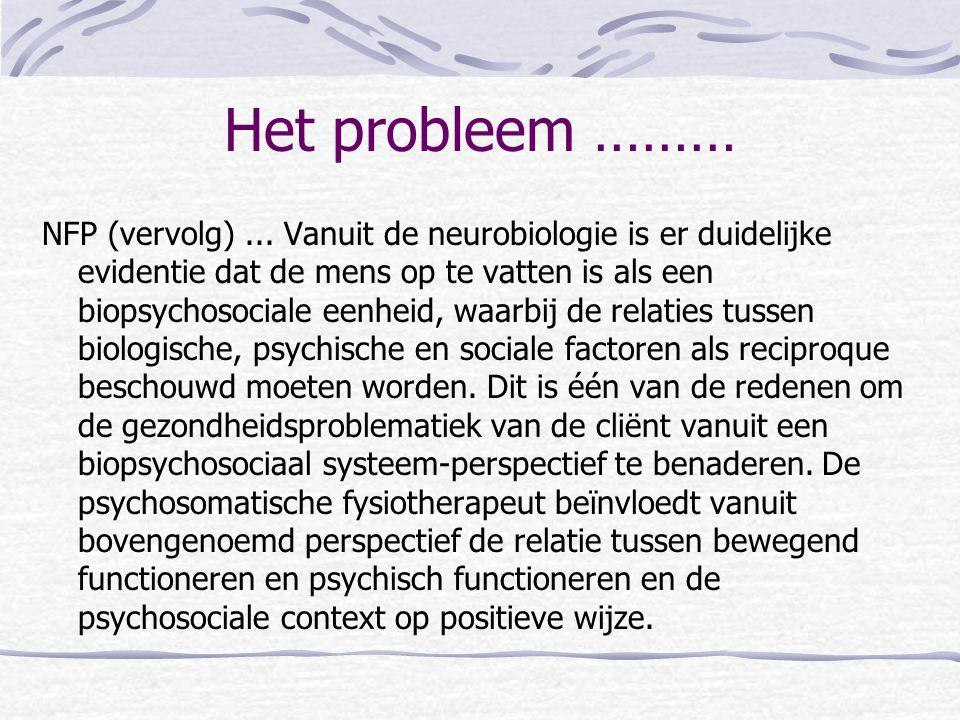 Het probleem ……… NFP (vervolg)... Vanuit de neurobiologie is er duidelijke evidentie dat de mens op te vatten is als een biopsychosociale eenheid, waa