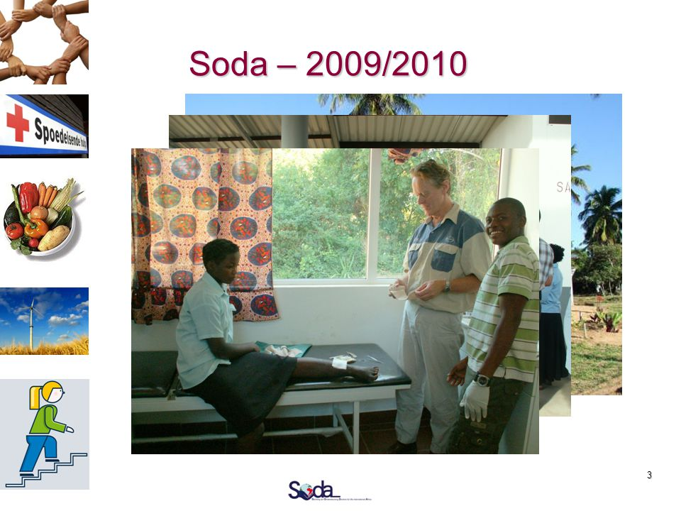 3 Soda – 2009/2010  Kliniek klaar  Hoe verder ?  Kernwaarden  Geloof  Duurzaamheid  Zelfstandigheid  Past het