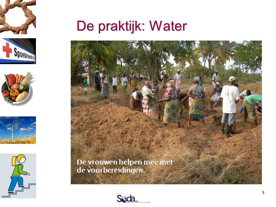 9 De praktijk: Water  2010: 1 e boorreis  2011: 2 e boorreis  5 bronnen  1 operationeel  1 wacht op pomp  2 zout  1 drooggevallen  2012: Doel
