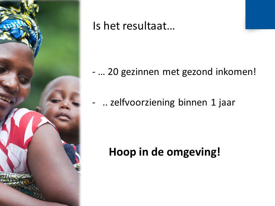 Is het resultaat… - … 20 gezinnen met gezond inkomen! -.. zelfvoorziening binnen 1 jaar Hoop in de omgeving!