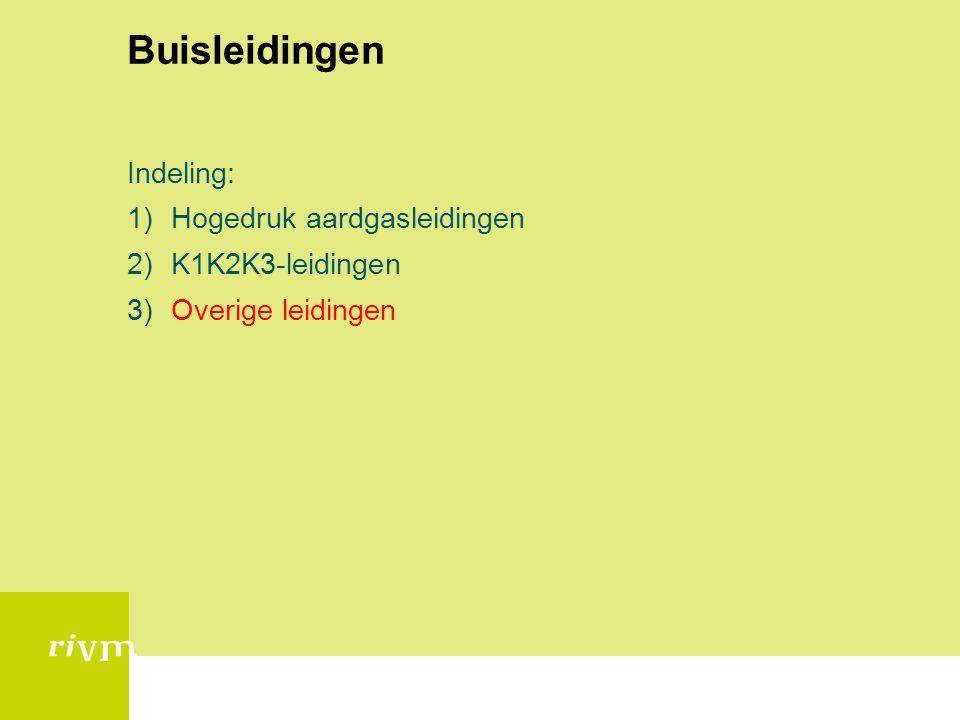 Buisleidingen Indeling: 1)Hogedruk aardgasleidingen 2)K1K2K3-leidingen 3)Overige leidingen