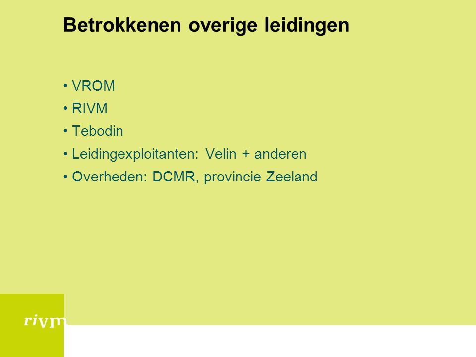 Betrokkenen overige leidingen •VROM •RIVM •Tebodin •Leidingexploitanten: Velin + anderen •Overheden: DCMR, provincie Zeeland