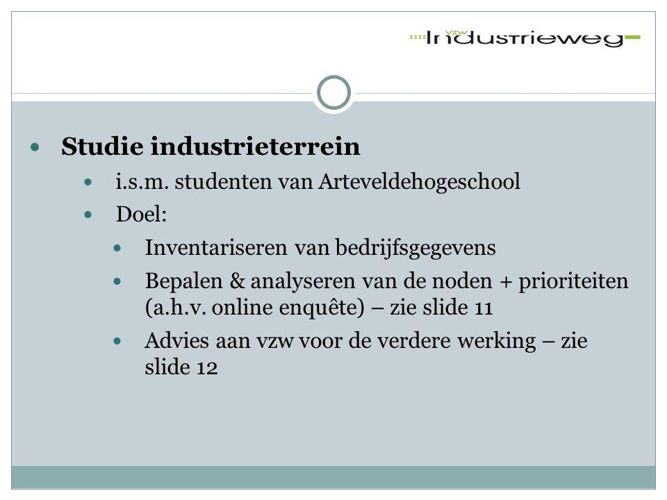 Studie industrieterrein  i.s.m. studenten van Arteveldehogeschool  Doel:  Inventariseren van bedrijfsgegevens  Bepalen & analyseren van de noden