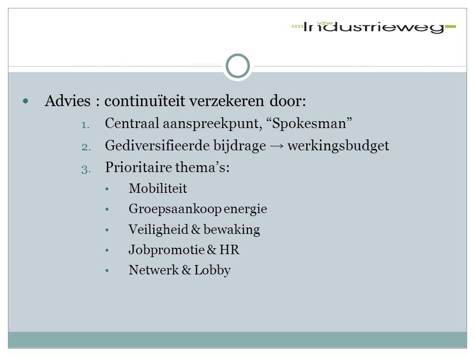 """ Advies : continuïteit verzekeren door: 1. Centraal aanspreekpunt, """"Spokesman"""" 2. Gediversifieerde bijdrage → werkingsbudget 3. Prioritaire thema's:"""