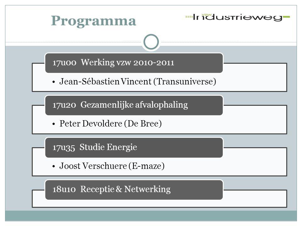 Programma •Jean-Sébastien Vincent (Transuniverse) 17u00 Werking vzw 2010-2011 •Peter Devoldere (De Bree) 17u20 Gezamenlijke afvalophaling •Joost Versc