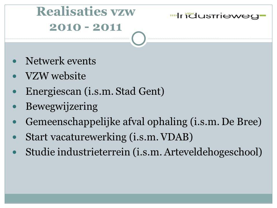 Activiteiten - 2012 •Website •E-mail nieuwsbrief & nieuwsflash Communicatie •Studie Energie (Stad Gent) •Mobiliteit •Veiligheid •Vacaturewerking Inhoudelijk •Informatiesessies •Nieuwjaarsdrink •Bedrijven BBQ Netwerk & Informatie events Binnenkort meer info !!