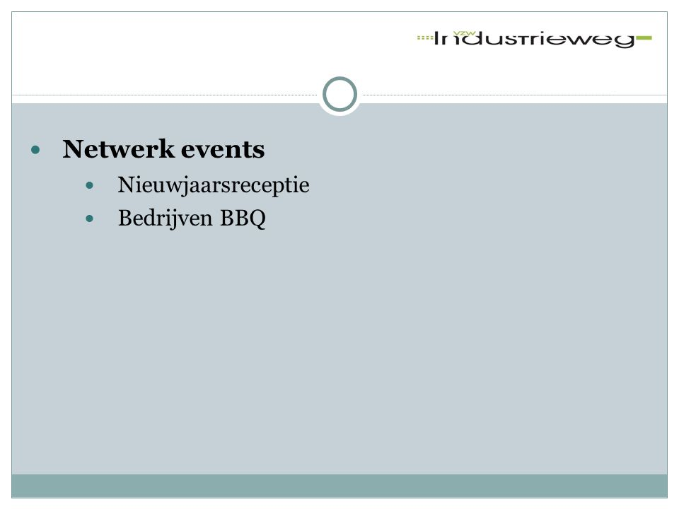  VZW website  Industrieweg.be  Digitaal uitwisselingsplatform  Voor én door bedrijven gelegen tussen Ringvaart, Brugse Vaart en R4