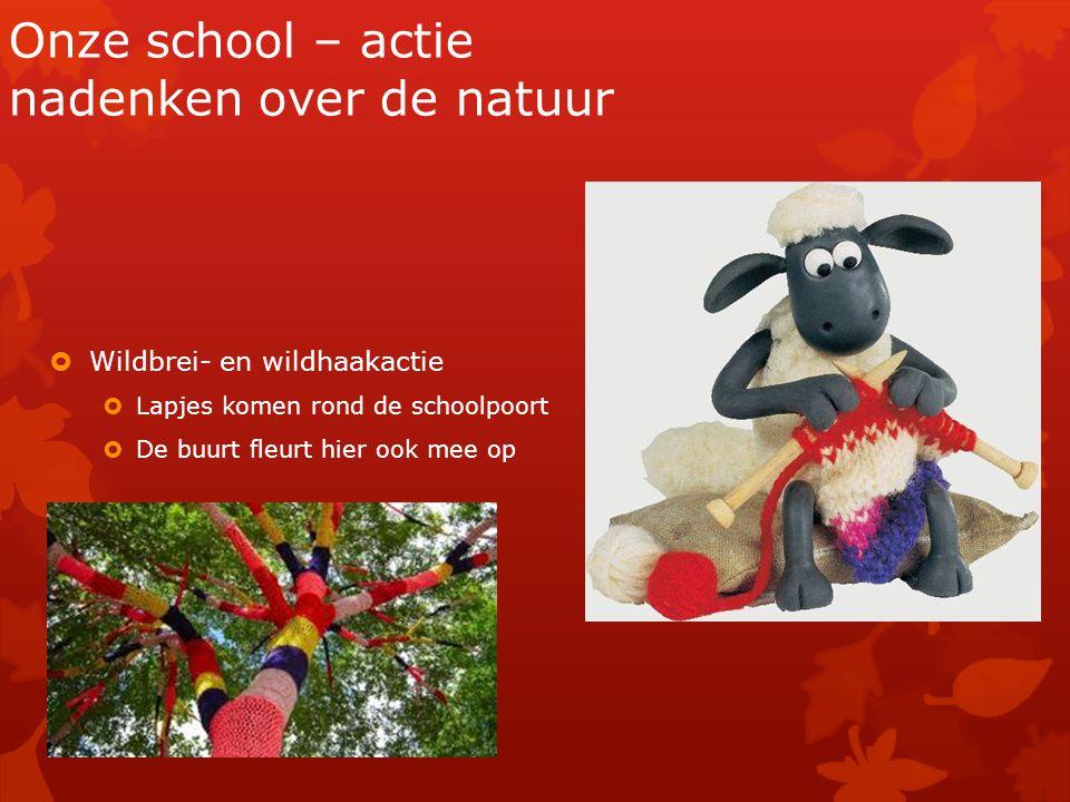Onze school – actie nadenken over de natuur  Wildbrei- en wildhaakactie  Lapjes komen rond de schoolpoort  De buurt fleurt hier ook mee op
