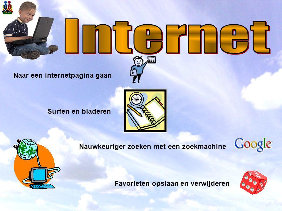 Nauwkeuriger zoeken met een zoekmachine Naar een internetpagina gaan Surfen en bladeren Favorieten opslaan en verwijderen