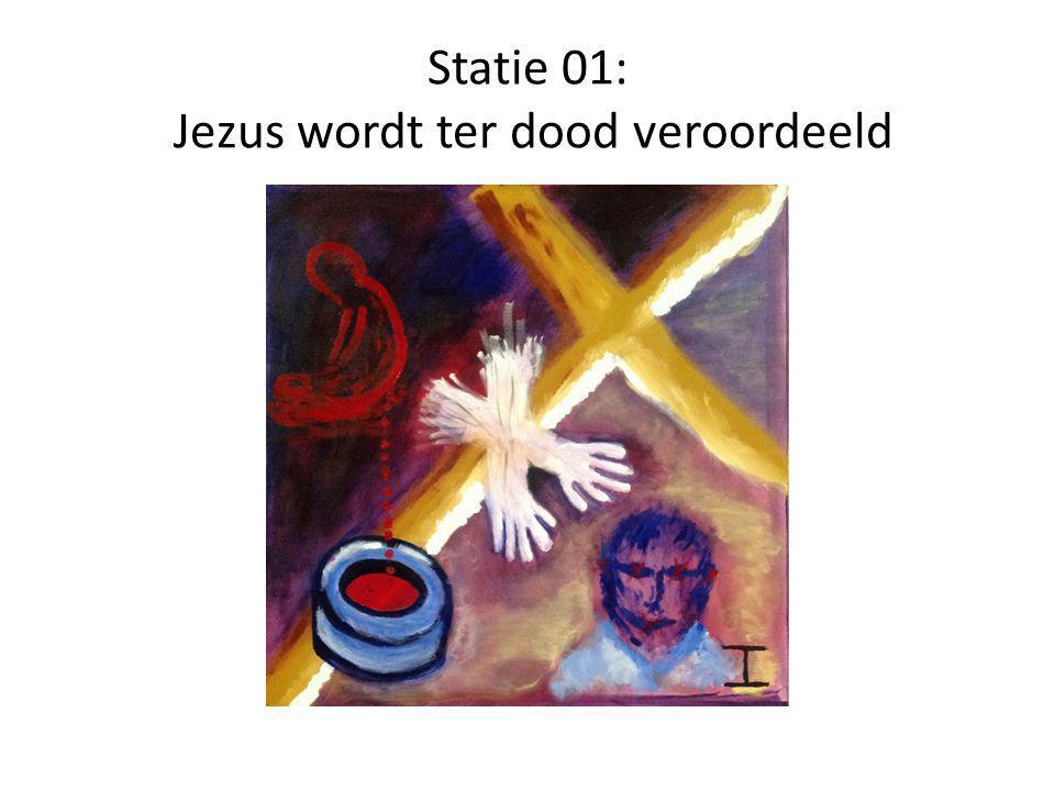 Statie 02: Jezus neemt het kruis op Zijn schouders