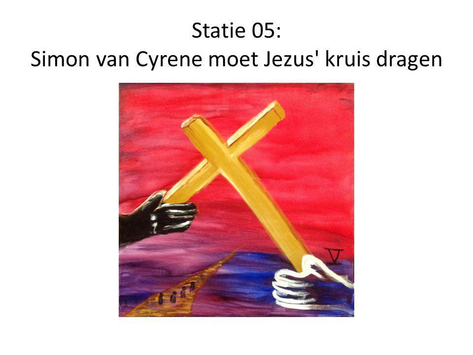 Statie 05: Simon van Cyrene moet Jezus' kruis dragen
