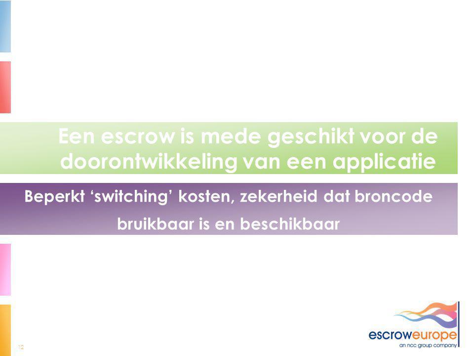 12 Een escrow is mede geschikt voor de doorontwikkeling van een applicatie Beperkt 'switching' kosten, zekerheid dat broncode bruikbaar is en beschikb