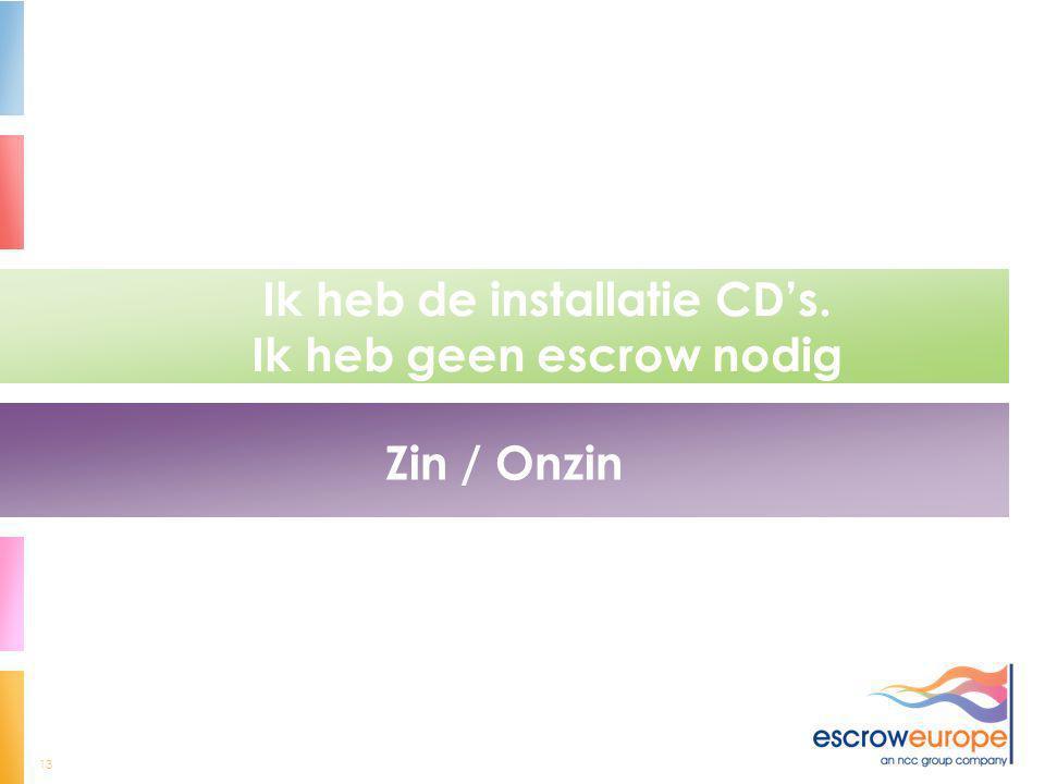 13 Ik heb de installatie CD's. Ik heb geen escrow nodig Zin / Onzin