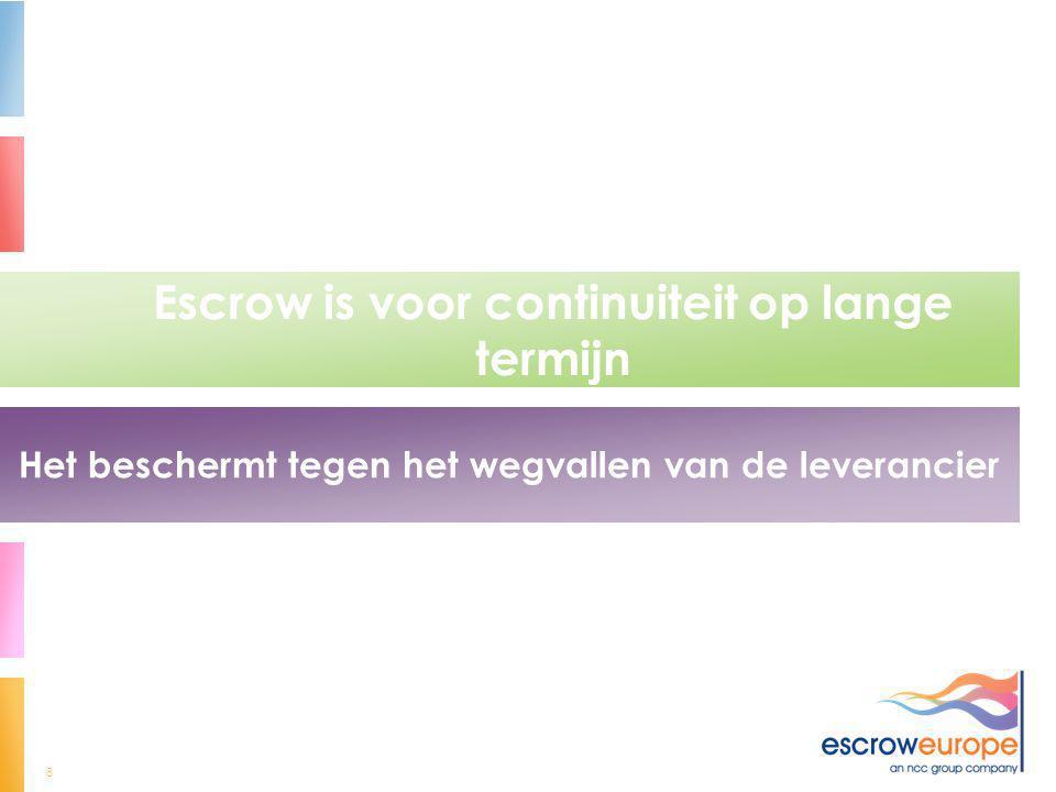 8 Escrow is voor continuiteit op lange termijn Het beschermt tegen het wegvallen van de leverancier
