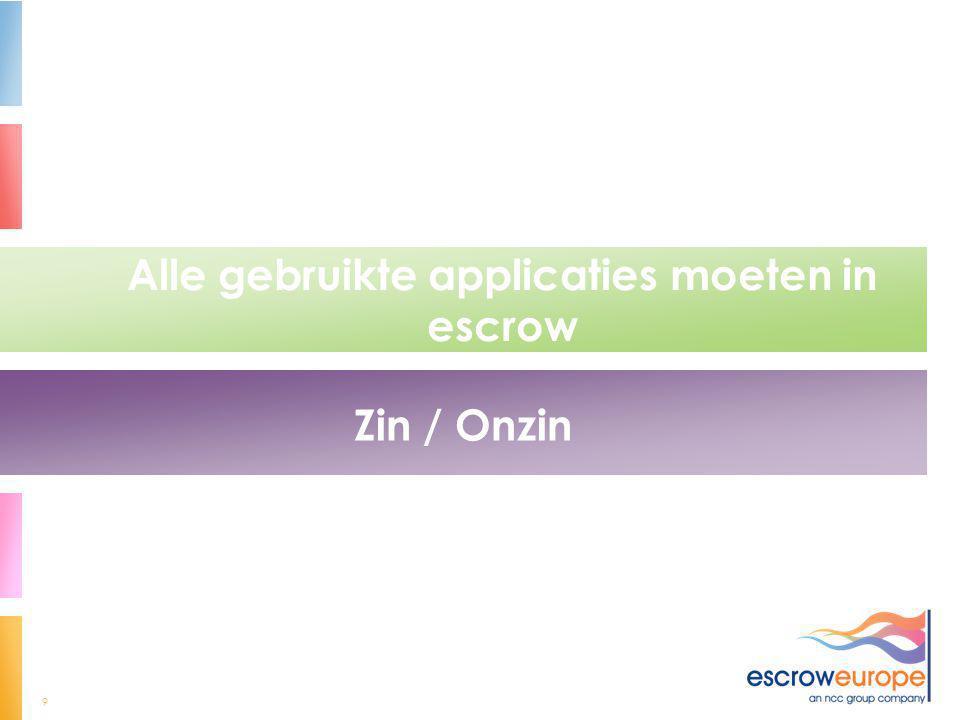 9 Alle gebruikte applicaties moeten in escrow Zin / Onzin