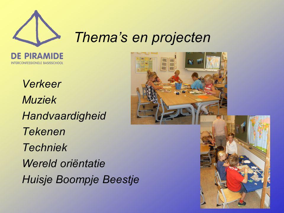Verkeer Muziek Handvaardigheid Tekenen Techniek Wereld oriëntatie Huisje Boompje Beestje Thema's en projecten