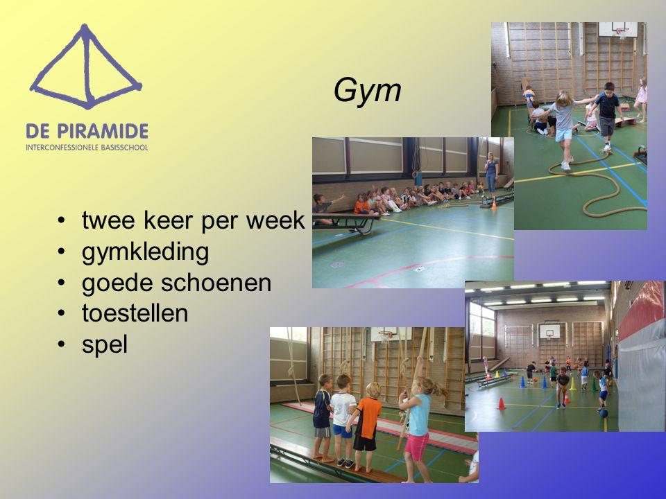 Gym •twee keer per week •gymkleding •goede schoenen •toestellen •spel