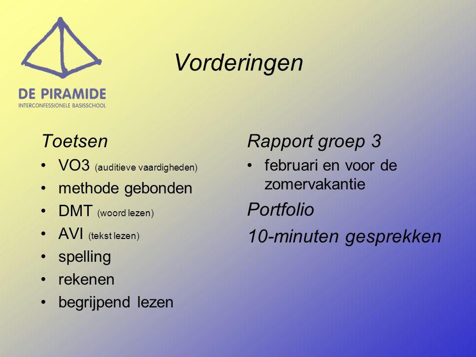 Vorderingen Toetsen •VO3 (auditieve vaardigheden) •methode gebonden •DMT (woord lezen) •AVI (tekst lezen) •spelling •rekenen •begrijpend lezen Rapport