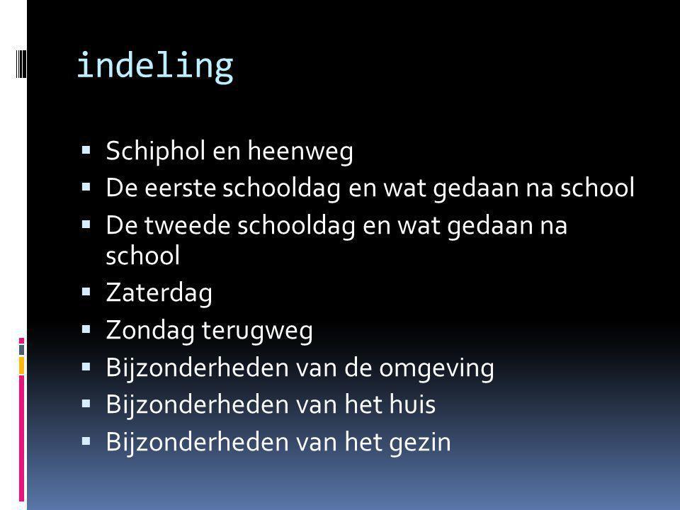 indeling  Schiphol en heenweg  De eerste schooldag en wat gedaan na school  De tweede schooldag en wat gedaan na school  Zaterdag  Zondag terugweg  Bijzonderheden van de omgeving  Bijzonderheden van het huis  Bijzonderheden van het gezin