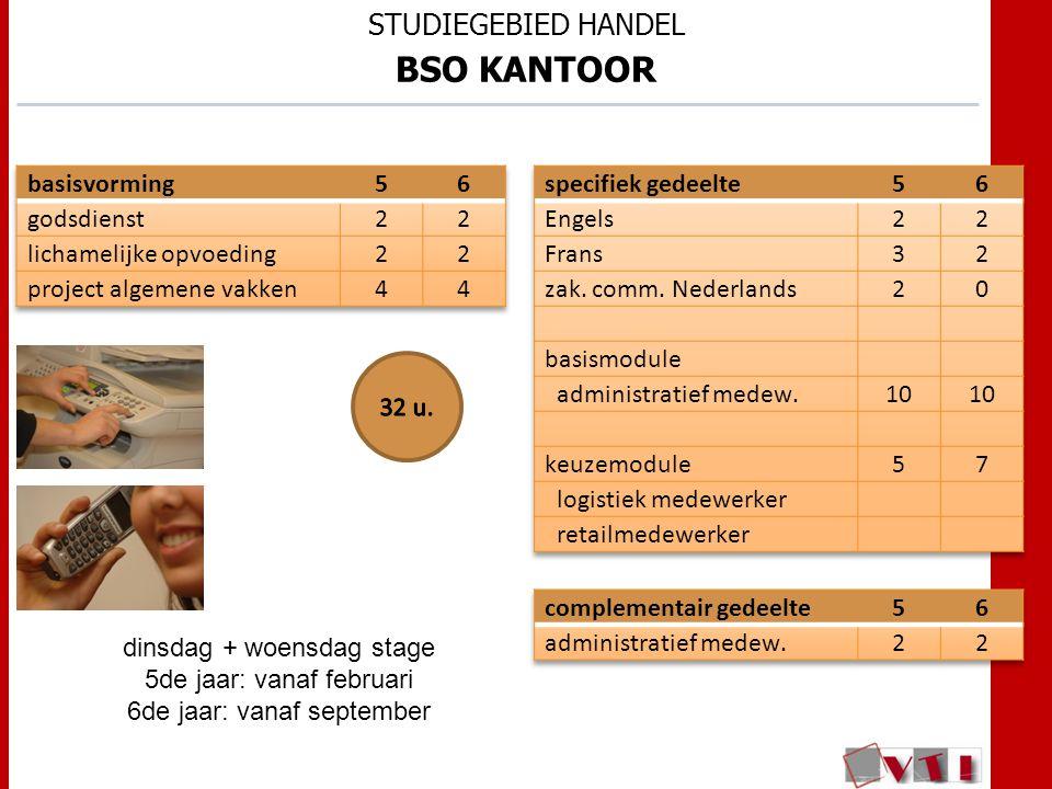 STUDIEGEBIED HANDEL BSO KANTOOR dinsdag + woensdag stage 5de jaar: vanaf februari 6de jaar: vanaf september