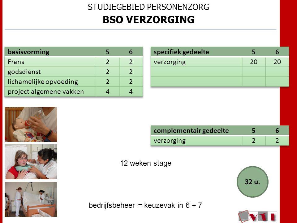 STUDIEGEBIED PERSONENZORG BSO VERZORGING 12 weken stage bedrijfsbeheer = keuzevak in 6 + 7