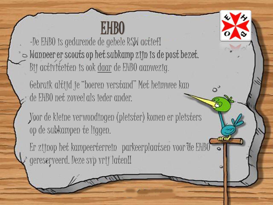 -De EHBO is gedurende de gehele RSW actief! Wanneer er scouts op het subkamp zijn is de post bezet. Bij activiteiten is ook daar de EHBO aanwezig. Geb
