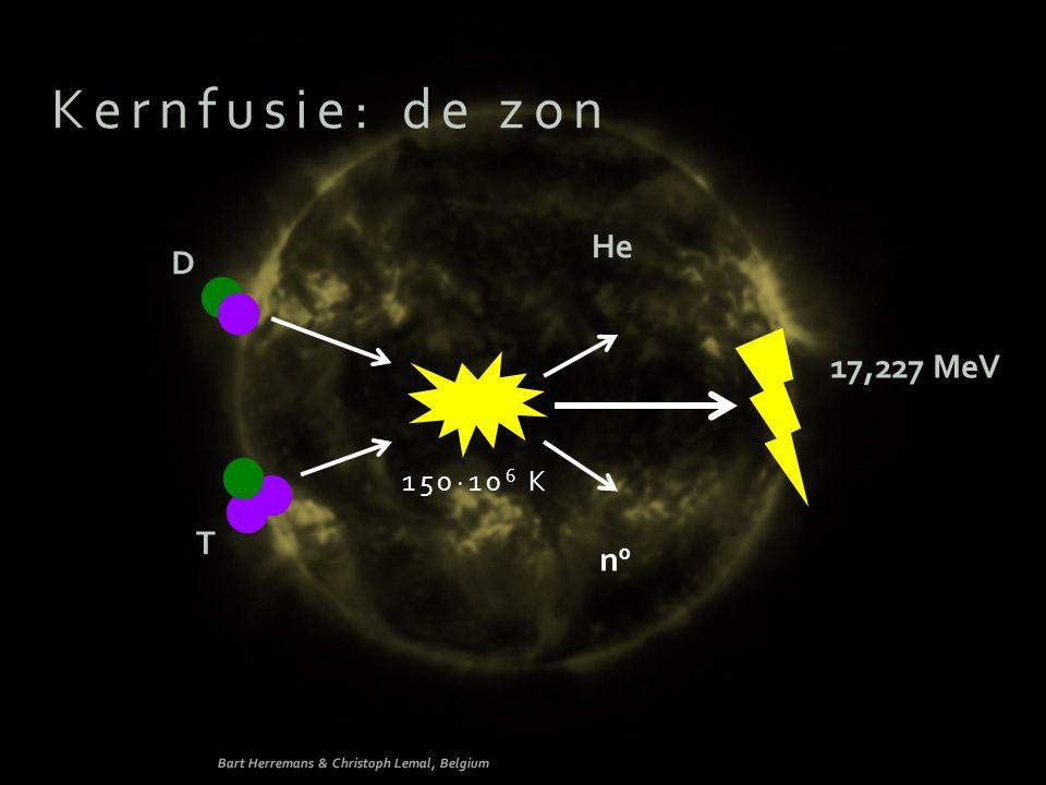 Kernfusie: de zon n0n0 D He T 150∙10 6 K 17,227 MeV Bart Herremans & Christoph Lemal, Belgium