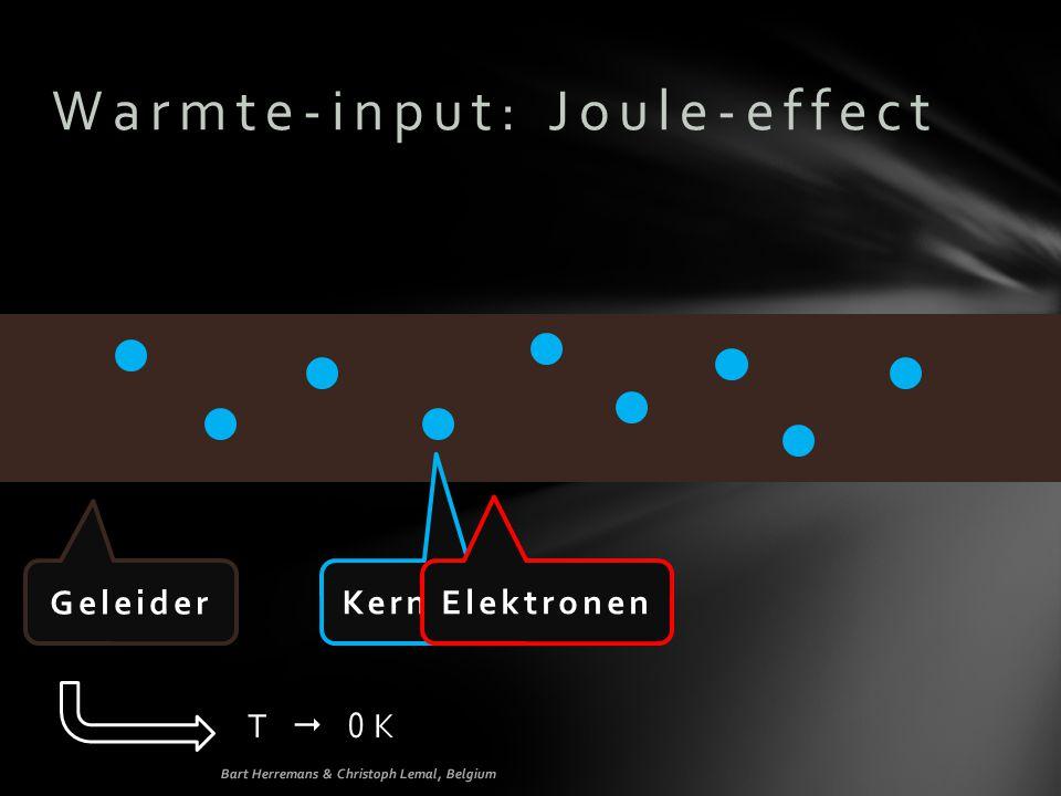 Warmte-input: Joule-effect Geleider Kernen Elektronen T  0 K Bart Herremans & Christoph Lemal, Belgium