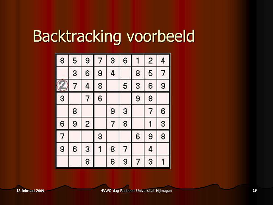 4VWO dag Radboud Universiteit Nijmegen 19 13 februari 2009 Backtracking voorbeeld
