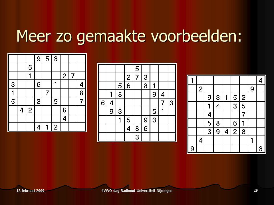 4VWO dag Radboud Universiteit Nijmegen 29 13 februari 2009 Meer zo gemaakte voorbeelden: