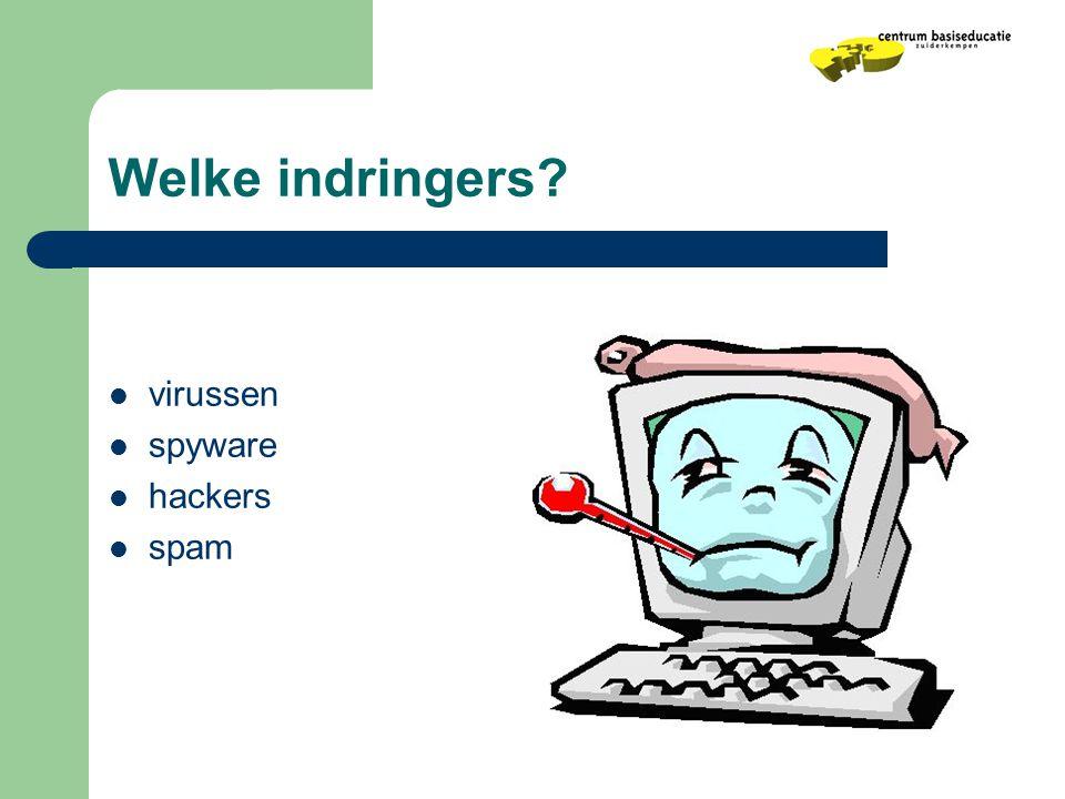Welke indringers?  virussen  spyware  hackers  spam