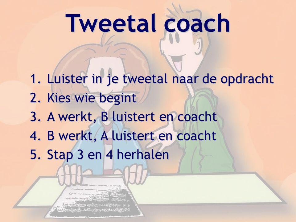 Tweetal coach 1.Luister in je tweetal naar de opdracht 2.Kies wie begint 3.A werkt, B luistert en coacht 4.B werkt, A luistert en coacht 5.Stap 3 en 4
