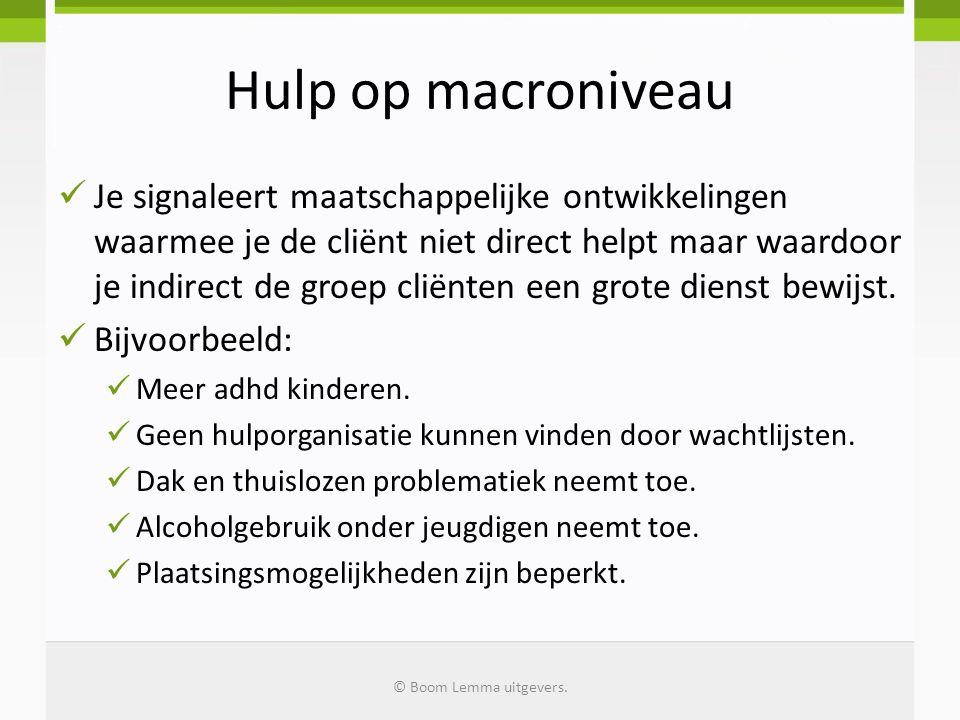 Hulp op macroniveau  Je signaleert maatschappelijke ontwikkelingen waarmee je de cliënt niet direct helpt maar waardoor je indirect de groep cliënten een grote dienst bewijst.