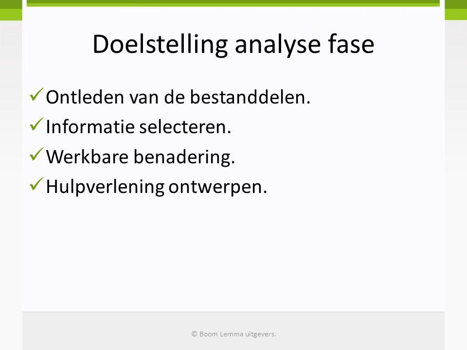 Doelstelling analyse fase  Ontleden van de bestanddelen.