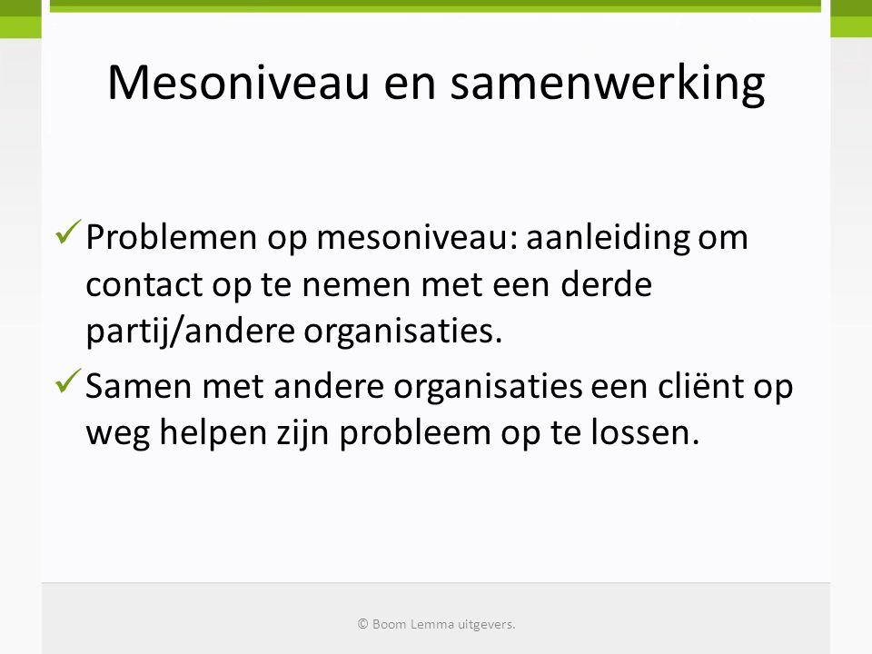 Mesoniveau en samenwerking  Problemen op mesoniveau: aanleiding om contact op te nemen met een derde partij/andere organisaties.