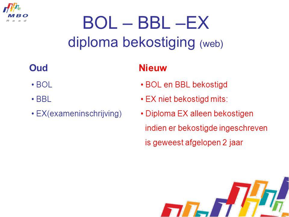 Oud Nieuw • BOL • BBL • EX(exameninschrijving) • BOL en BBL bekostigd • EX niet bekostigd mits: • Diploma EX alleen bekostigen indien er bekostigde in