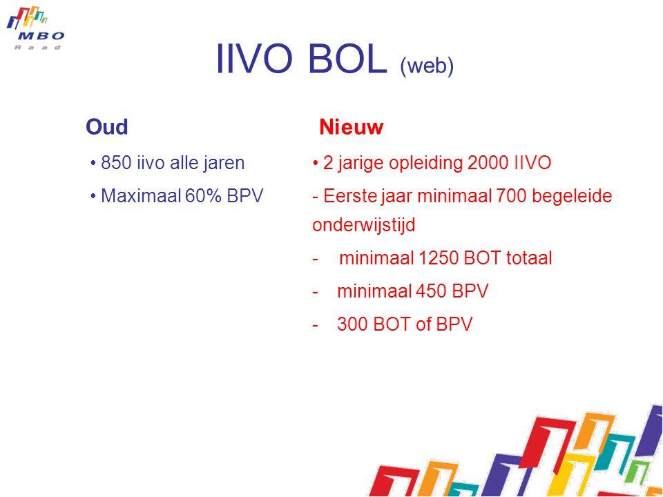 Oud Nieuw • 850 iivo alle jaren • Maximaal 60% BPV • 2 jarige opleiding 2000 IIVO - Eerste jaar minimaal 700 begeleide onderwijstijd - minimaal 1250 B