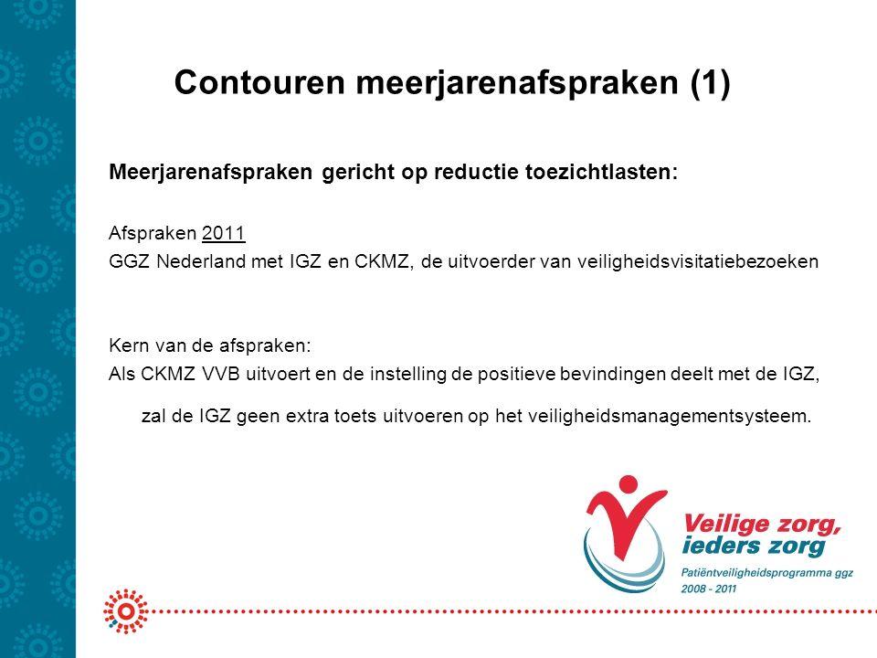 Contouren meerjarenafspraken (1) Meerjarenafspraken gericht op reductie toezichtlasten: Afspraken 2011 GGZ Nederland met IGZ en CKMZ, de uitvoerder va