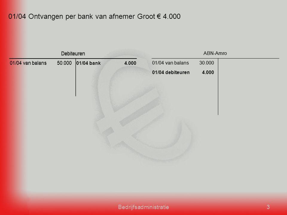 Bedrijfsadministratie3 ABN-Amro 01/04 van balans30.000 Debiteuren 01/04 van balans50.000 01/04 Ontvangen per bank van afnemer Groot € 4.000 ABN-Amro 01/04 van balans30.000 01/04 debiteuren4.000 Debiteuren 01/04 van balans50.00001/04 bank4.000
