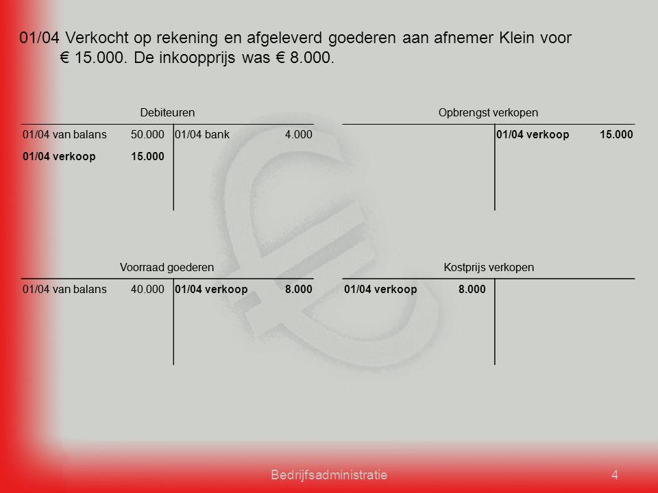 Bedrijfsadministratie4 01/04 Verkocht op rekening en afgeleverd goederen aan afnemer Klein voor € 15.000.