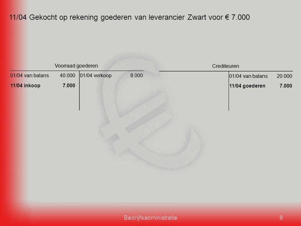 Bedrijfsadministratie6 11/04 Gekocht op rekening goederen van leverancier Zwart voor € 7.000 Voorraad goederen 01/04 van balans40.00001/04 verkoop8.000 Crediteuren 01/04 van balans20.000 Voorraad goederen 01/04 van balans40.00001/04 verkoop8.000 11/04 inkoop7.000 Crediteuren 01/04 van balans20.000 11/04 goederen7.000