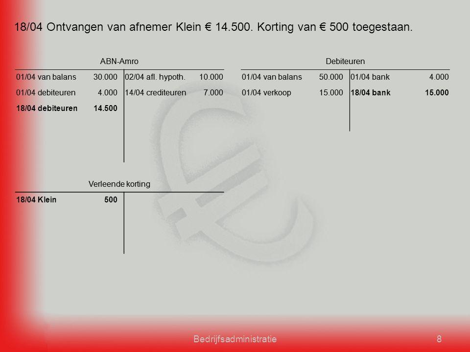 Bedrijfsadministratie8 18/04 Ontvangen van afnemer Klein € 14.500.